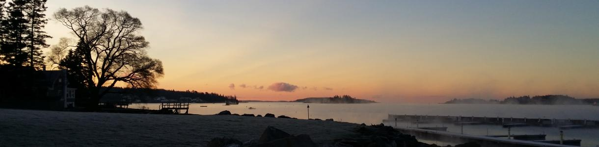 Image of sunrise in Boothbay Harbor, Maine.