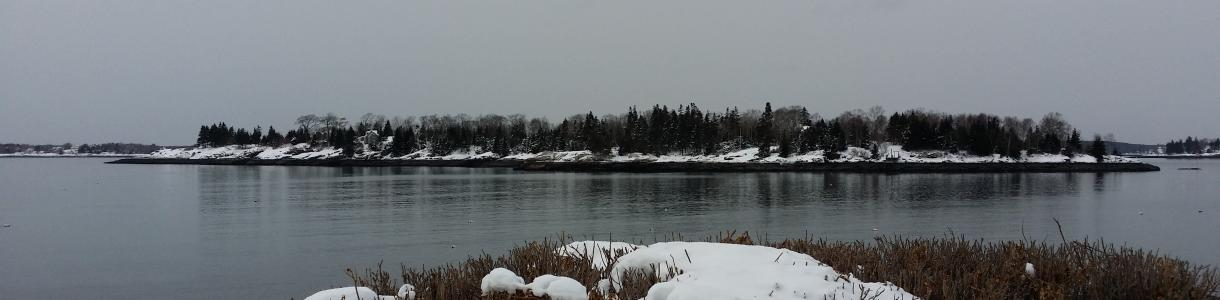 Image of winter by the water at Ocean Point Maine.